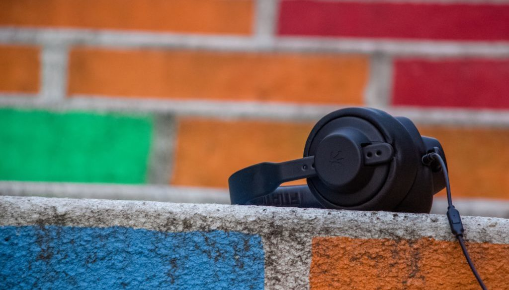 Headphones and colorful bricks
